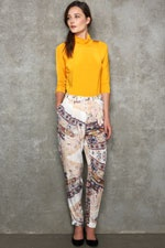 mustard top and patterned trousers  #uostyle
