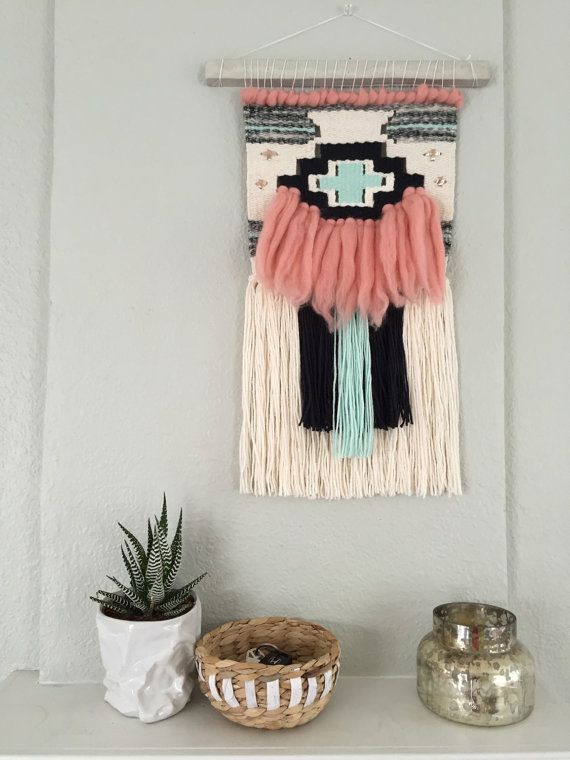 Pink and Mint Woven Wall Hanging / Weave by WildwoodandFirth