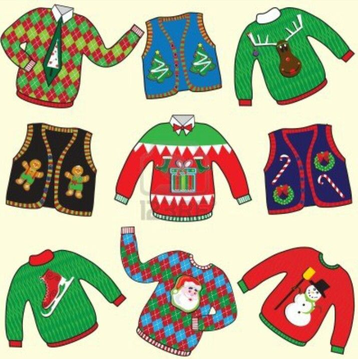 Ugly Christmas Sweater Party.Great Clip Art!!