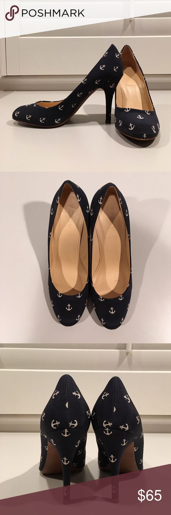 J. Crew nautical pumps Navy and white anchor print pumps. Small size 7 (fits more like 6.5). Great condition, worn once or twice. J. Crew Shoes Heels