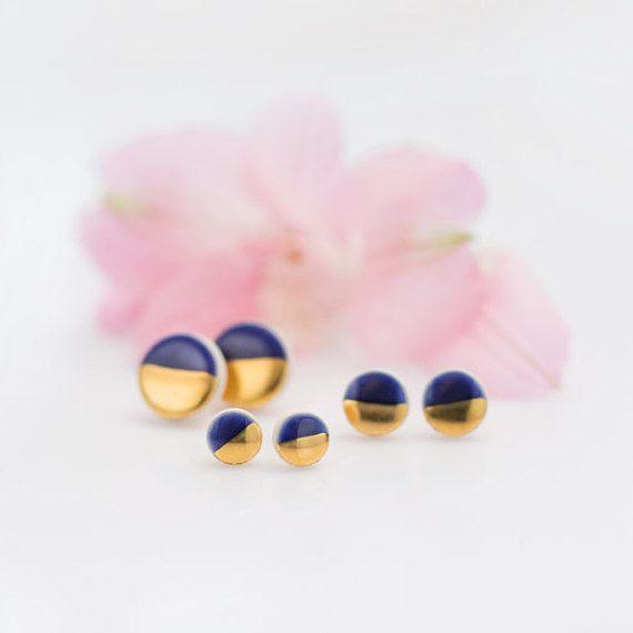 Blue and gold earrings Navy blue earrings Dark blue earrings Gold plated stud earrings Ceramic jewelry Porcelain earrings sensitive ears