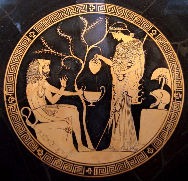 Interior (tondo) of a red figure kylix, depicting Herakles and Athena, by Phoinix (potter) and Douris (painter), circa 480-470 BC, Antikensammlungen Munich. Greece