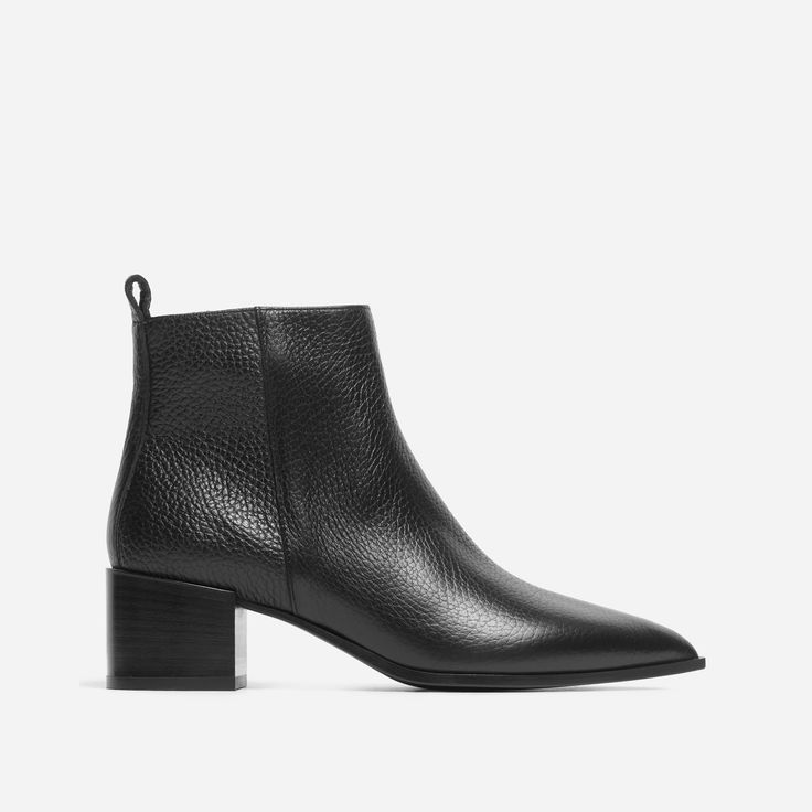 Be the boss. Handcrafted in Italy from premium Tuscan leather, this ankle boot features a pointed toe and a walkable block heel, plus a side zipper for a leather-jacket-inspired edge. This boot means business. See the story.
