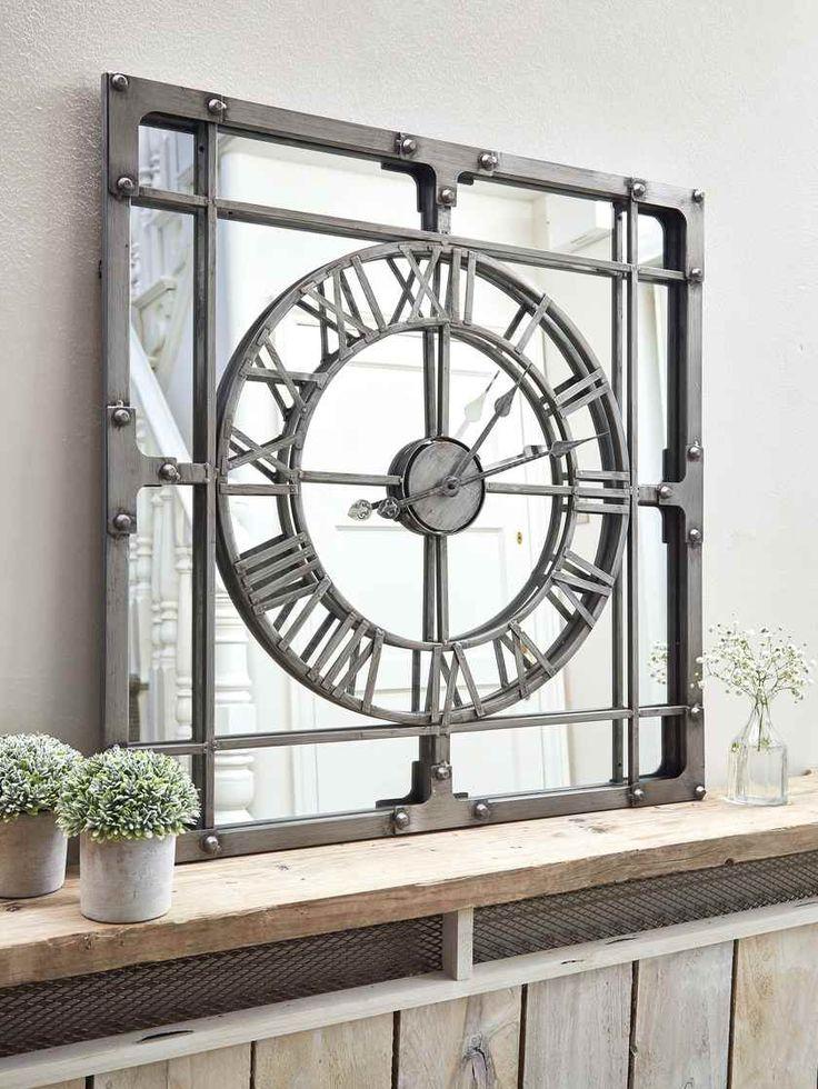 Large Loft Style Mirror Clock | Large mirrored wall clock ...