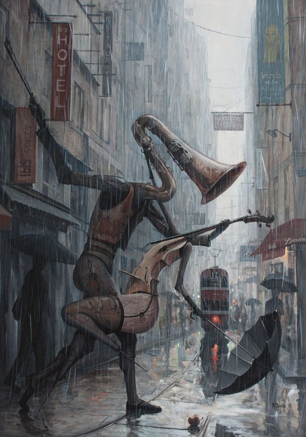 Life is a Dance in The Rain III | Artwork by Borda of DeviantArt. Its hard to describe this piece, but if I had to simplify how this piece makes me feel, I would condense my emotions down into two simple words: melancholic and surreal.
