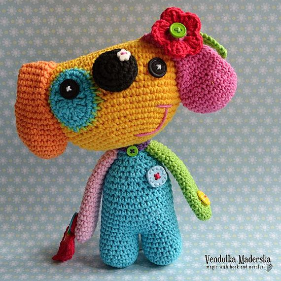 Perro patrón-arco iris de ganchillo de crochet VendulkaM, patrón de amigurumi/juguetes, bricolaje, PDF
