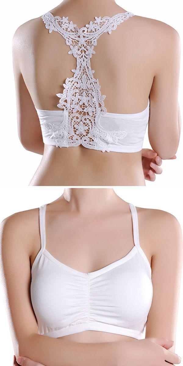 Cotton Strapless Embroidery Strappy Back Padded Bandeau Bra. women bra, wireless bra, lace bra, bandeau bra, push up bra, wonderbra, comfy vest bra, plus size bras. Buy now!