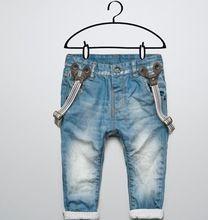 Il trasporto libero nuovi bambini vestiti del ragazzo pantaloni jeans per le ragazze dei ragazzi dei pantaloni tracolla staccabile bambini vestiti del bambino flangiatura, CZ-036(China (Mainland))