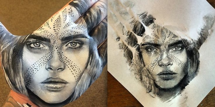 As pinturas feitas com a palma da mão pelo artista Russell Powell