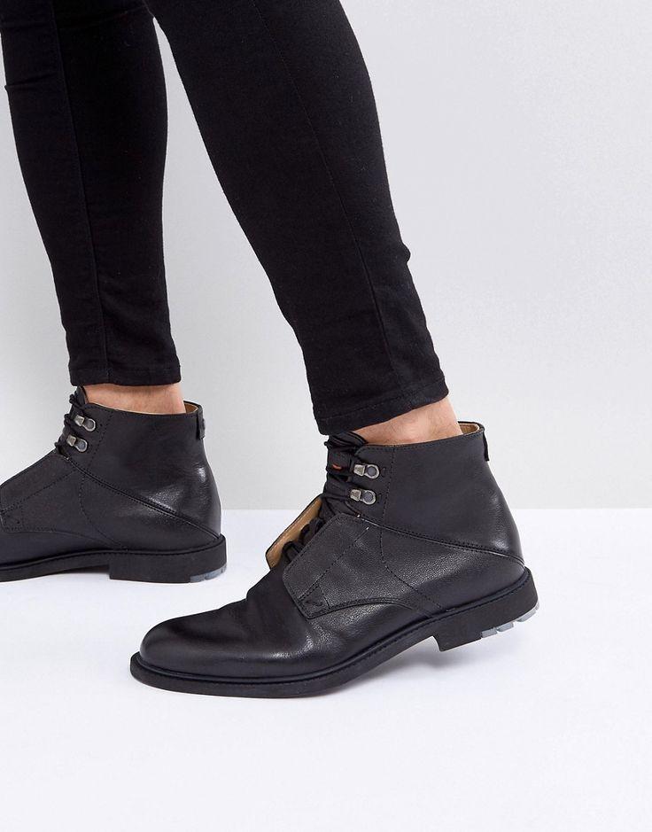 BOSS ORANGE BY HUGO BOSS CULTROOT LEATHER BOOTS IN BLACK - BLACK. #bossorange #shoes #