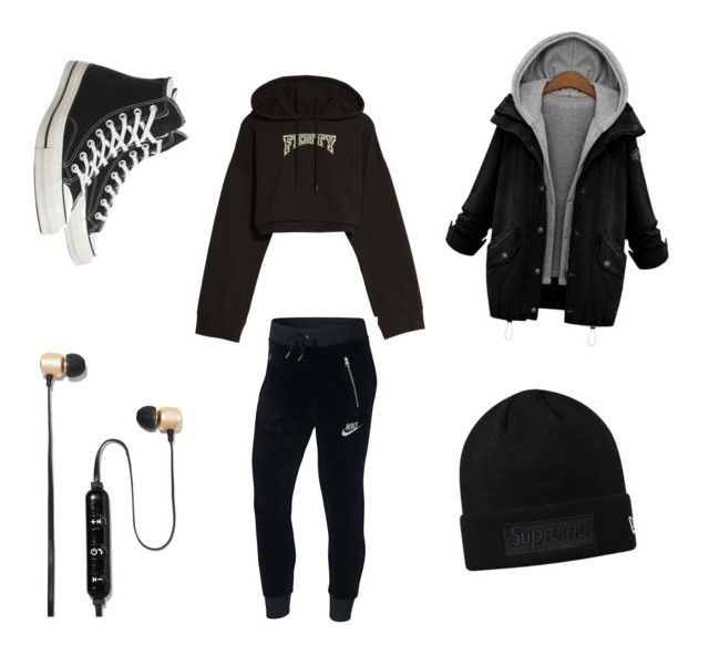 """""""Untitled #25"""" by jasmimosa on Polyvore featuring Puma, NIKE, Polaroid, Converse and plus size clothing"""