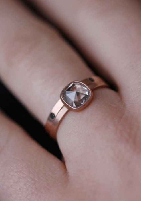 Natural Clear Rose Cut Diamond Ring - 14kt Rose Gold / Alexis Russel