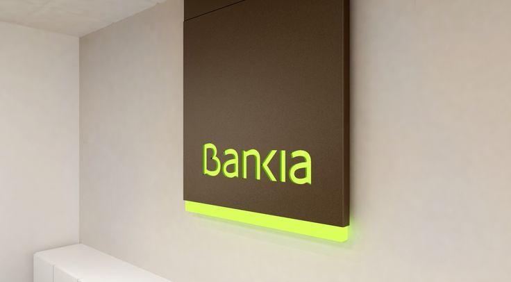 Diseño cartel de bienvenida oficina para Bankia (detalle)