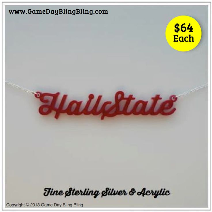 Mississippi State Necklace - Sterling silver and fine acrylic. #hailstate #msstate #godawgs #bully #acrylic #gameday #necklace #fashion #football #college #gamedayblingbling
