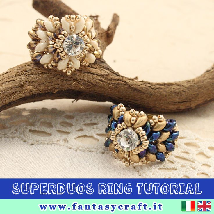 superduos ring with strass and beads, step by step picture and instruction - TRANSLATION AVAILABLE! #fantasycraft