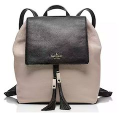 Leather tan and black Kate Spade backpack