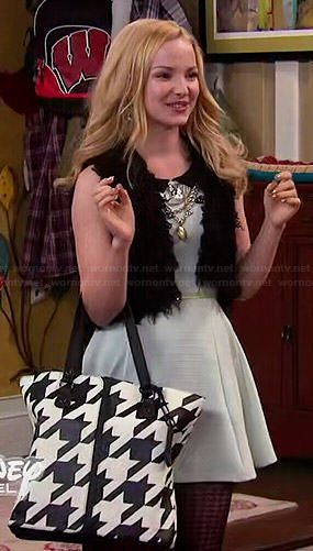 Liv's mint collared dress and houndstooth bag on Liv and Maddie.  Outfit Details: http://wornontv.net/46601/ #LivandMaddie