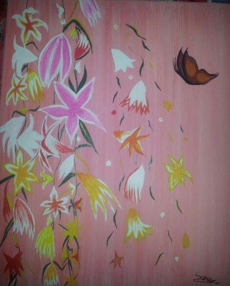 Flores sobre rosa