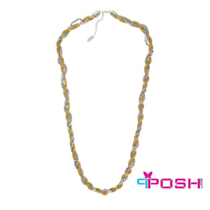 """- Twisted multi-strands necklace with beads - Gold, silver and gun metal bead colour - Dimension: 32.28"""" + 1.97"""" extending chain"""