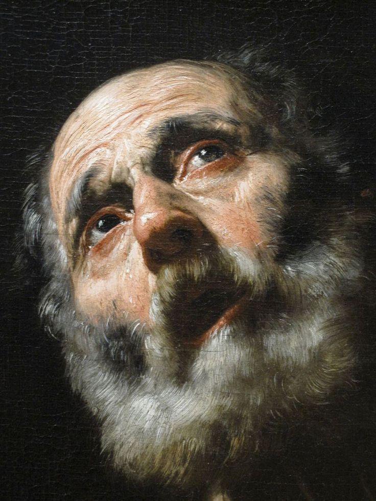""""""" Le Pénitent Saint-Pierre """" . Un gros plan de Saint-Pierre par José de Ribera (1591 - 1652) était un peintre et graveur espagnol, mieux connu comme Jusepe de Ribera ou Giuseppe Ribera . Il a également été appelé Lo Spagnoletto ( """" le petit Espagnol» )"""