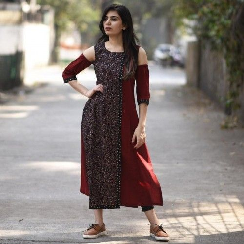Buy Rustorange Red & Black Hand Block Printed Cold Shoulder Kurti online in India at best price. This cold shoulder dress is your go to dress this season for every evening plan that you have. the r