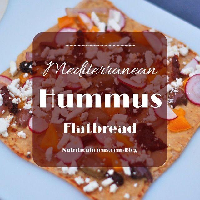 Mediterranean Hummus Flatbread made w @sabradippingco Roasted Garlic Hummus @jlevinsonRD #ad