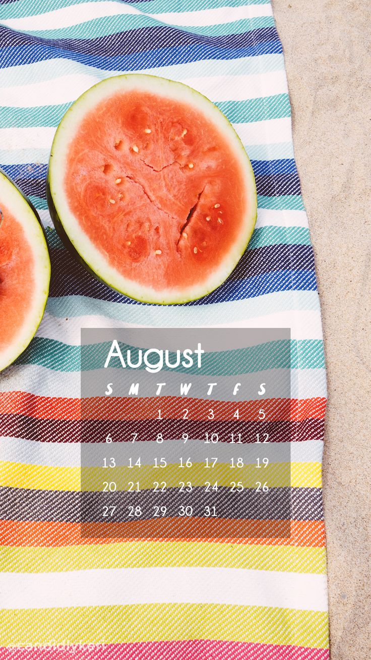 Watermelon beach towel colorful august calendar 2017 wallpaper you can download for free on the blog! For any device; mobile, desktop, iphone, android!