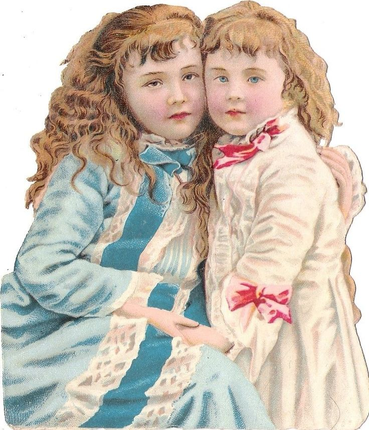 Oblaten Glanzbild scrap die cut chromo Kind child Geschwister Paar couple sister