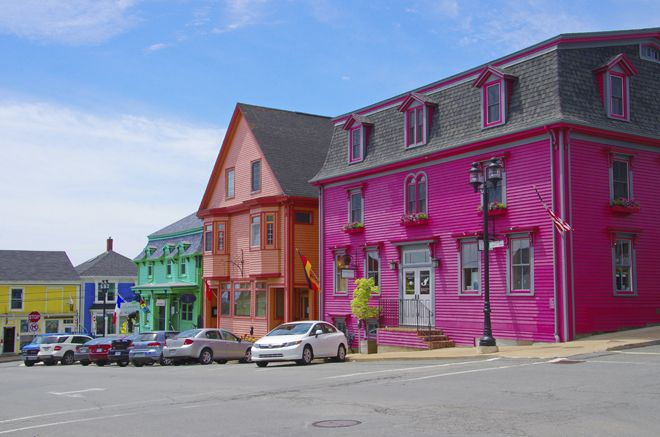 The blindingly bright colours of Lunenburg houses. Nova Scotia