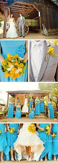 Spring wedding  Love the yellow flowers with the teal bridesmaid dresses, and the grey suit!!