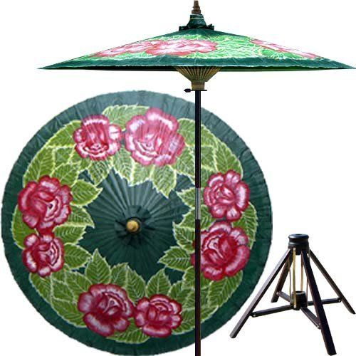 Summer Roses 7 Foot Patio Umbrella With Base   Dark Green By Oriental Decor.