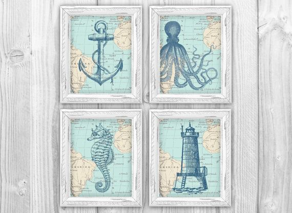 Nautical Map Sea Life Set Of 4 Prints Vintage Ocean Charts Nautical Bathroom Or Beach House