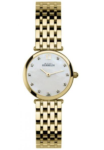 Michel Herbelin Ladies Mother of Pearl Dial Extra Flat Epsilon Bracelet Watch 1045/BP59