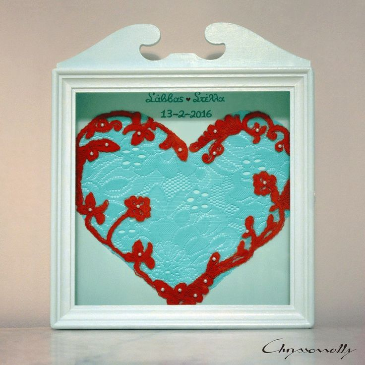 WEDDING | Chryssomally || Art & Fashion Designer - One of a kind mint and red wedding crowns case, especially made for a Valentine inspired wedding