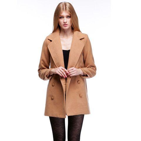 Women's Wool Blend Coat Jacket Loose Double Breasted Lapel Warm Outwear $46.99 CAD