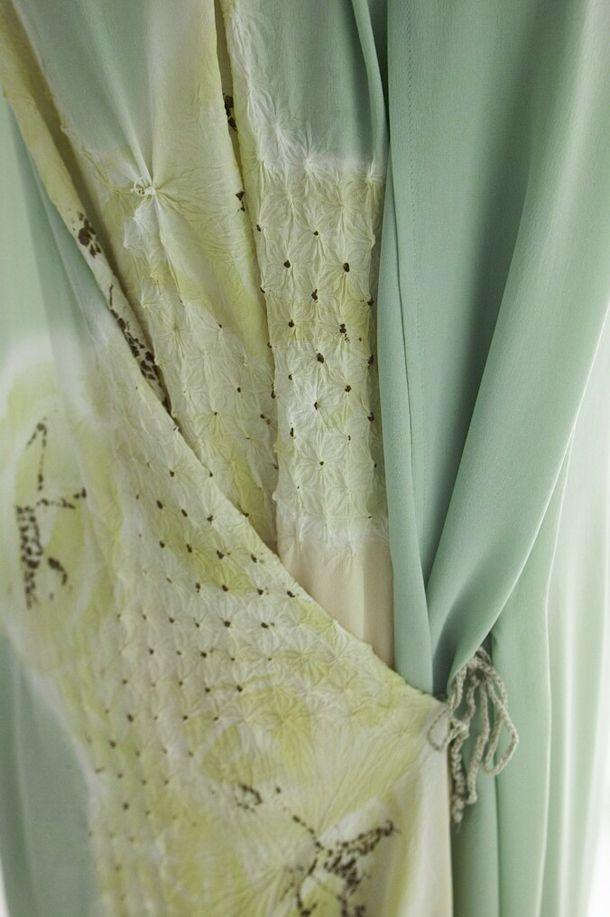 Yohji Yamamoto kimono featuring shibori...but I'm thinking drapery tie back