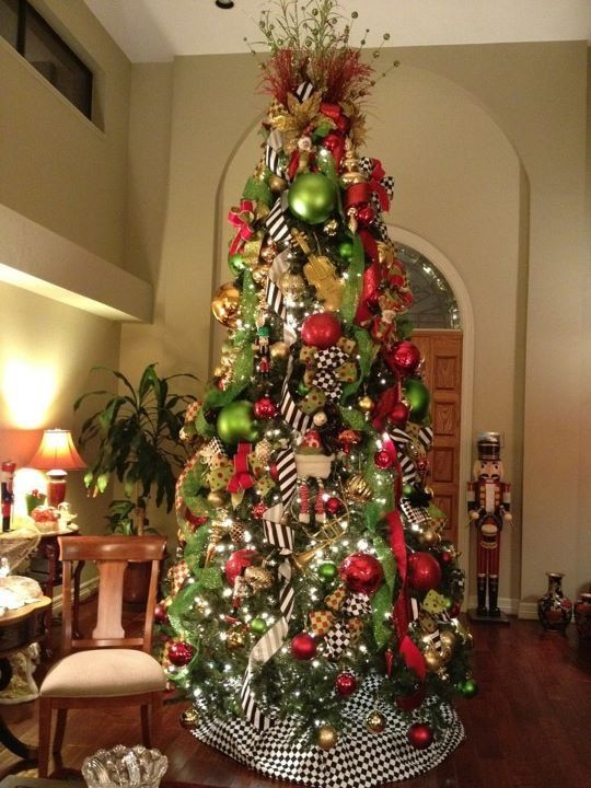 Lime Green, Red and Black and White Patterns - Christmas Tree