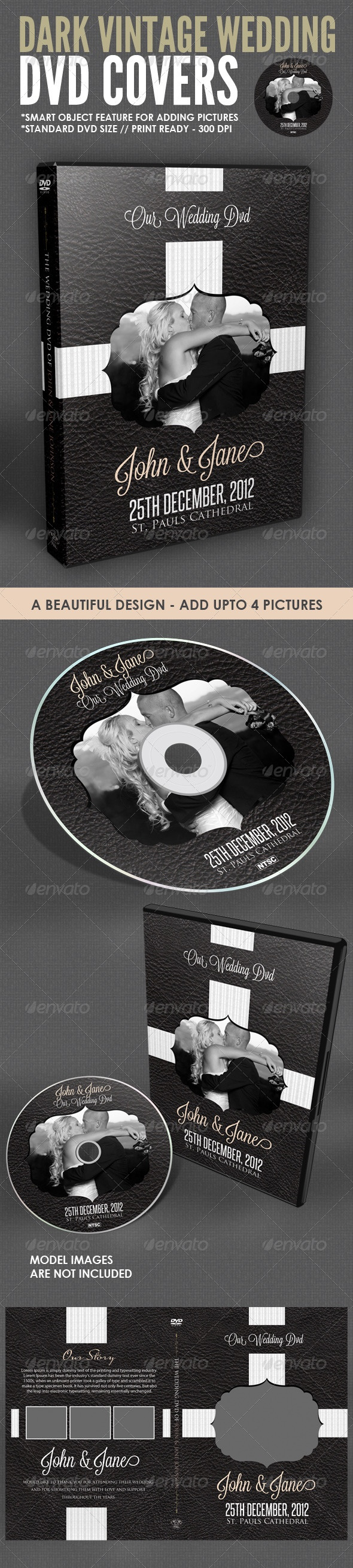 Cd box template download free vector art stock graphics amp images - Dark Vintage Wedding Dvd Cover Template