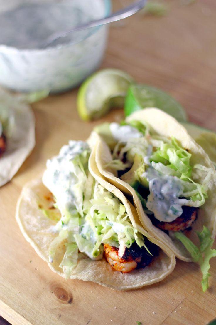 Blackened Shrimp Tacos with Creamy Dill Sauce made with Greek Yogurt.