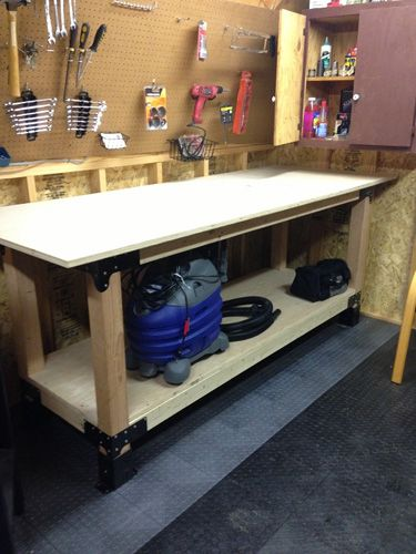 How to Build a Heavy Duty Workbench, I like these brackets that are made for the 4x4 legs