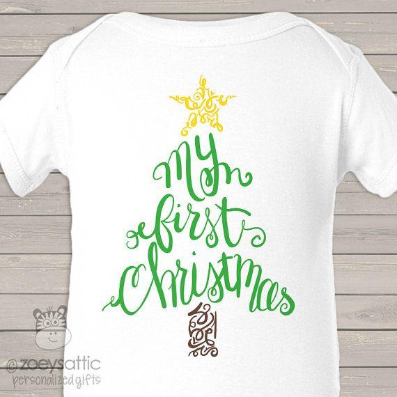 Mi primera Navidad árbol rizado Body o camiseta por zoeysattic