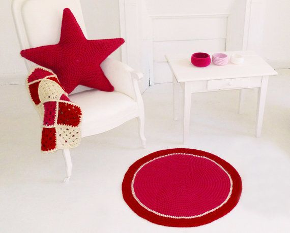 Items similar to Round crocheted floor carpet on Etsy