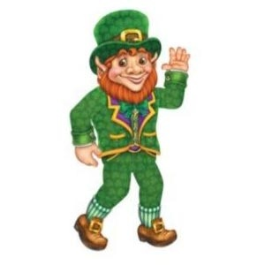 """Leprechaun 33"""" Jointed Cutout. Great for decorating your St. Patrick's Day Party or just your home or office. The Leprechaun cutout is jointed and 33 inches."""