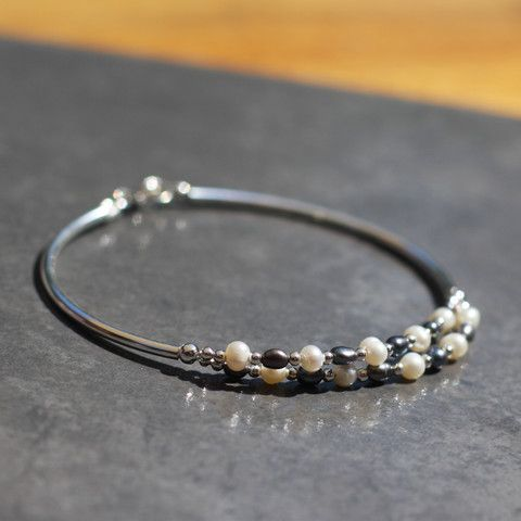 Freshwater Pearl and Sterling Silver Bracelet - SilverBellas http://silverbellas.com/
