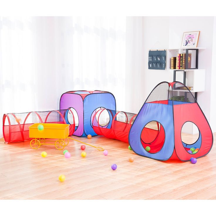 HAN-MM 4pc Ball Pits Pop Up Children Play Tent with 2 Crawl Tunnel & 2 Tents for Girls, Boys, Babies, Kids and Toddlers with Zipper Storage Bag (Blue and Red)