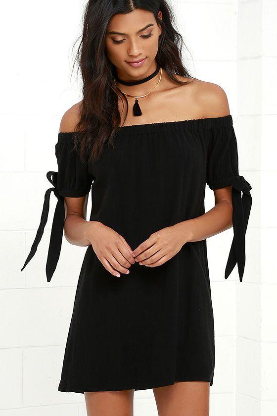 Black off shoulder cocktail dress