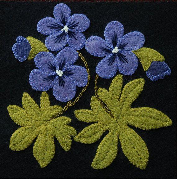 """Apliques de lana PATRÓN de BOM & o """"Wild geranios"""" 6 x 6 bloque 1 de 24 en lana """"Cuatro estaciones de las flores"""" edredón del colgante de pared corredor de fieltro lana"""