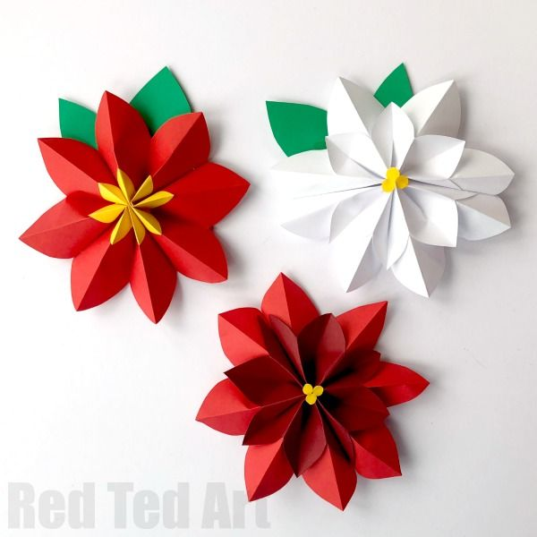 Super Pretty 3d Paper Flowers Poinsettia A Gorgeous Christmas Decoration Love How You Need Just Paper To Easy Paper Flowers Paper Flowers Paper Flowers Diy