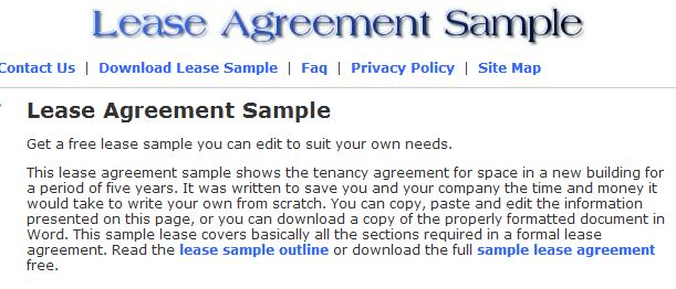 Lease agreement sample shows the tenancy agreement for space in a new building for a period of five years. It was written to save you and your company the time and money it would take to write your own from scratch >> lease agreement sample, sample lease agreement, lease agreement template, rent agreement sample, link us, get homepage, os form for leasing, form sample, lease-agreement-sample --> www.lease-agreement-sample.com