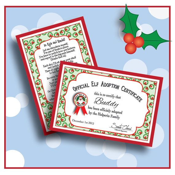 digital personalized elf welcome letter poem and adoption certificate put these on the shelf
